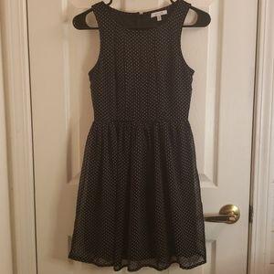 Delia's Black w/ White Polka Dots Swing Dress 3/4